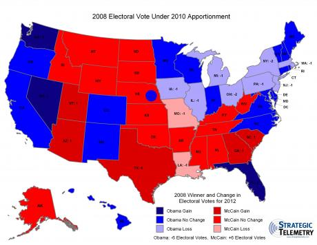 2008 Electoral Vote Under 2010 Apportionment